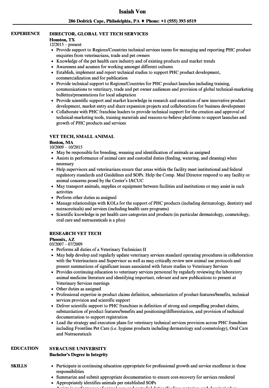 vet resume sample