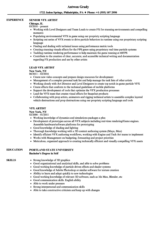 vfx resume download