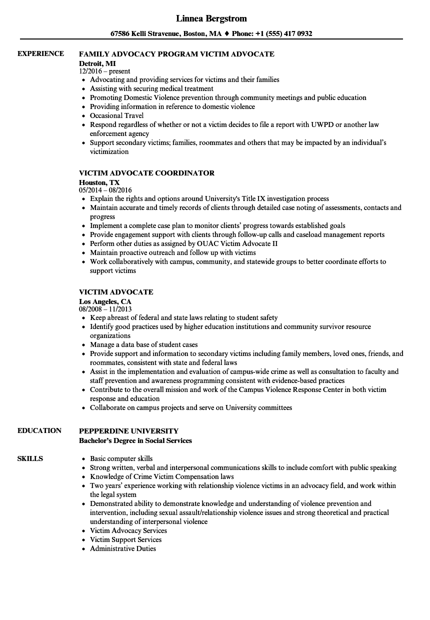resume examples violence advocate