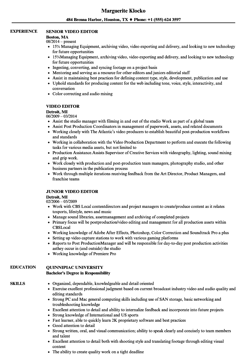 editor resume objective examples