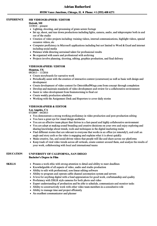 resume samples for videographer
