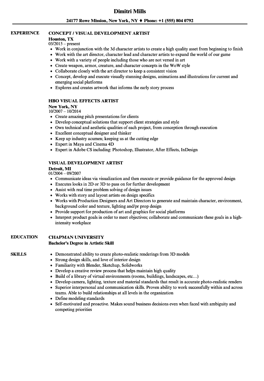 visual effects resume template