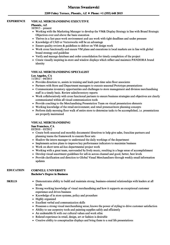 resume template for visual merchandiser