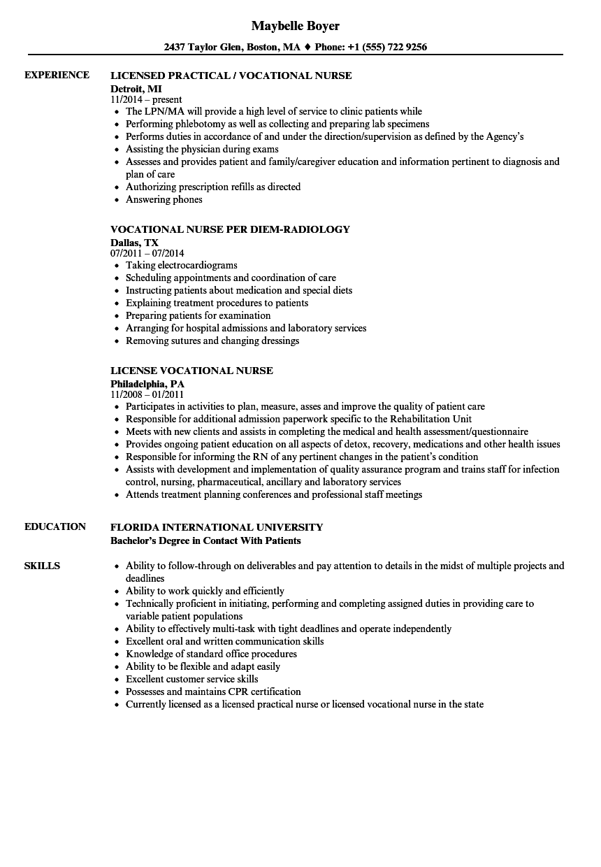 sample skills resume nurse