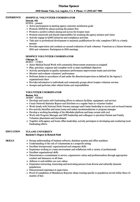 volunteer coordinator resume examples