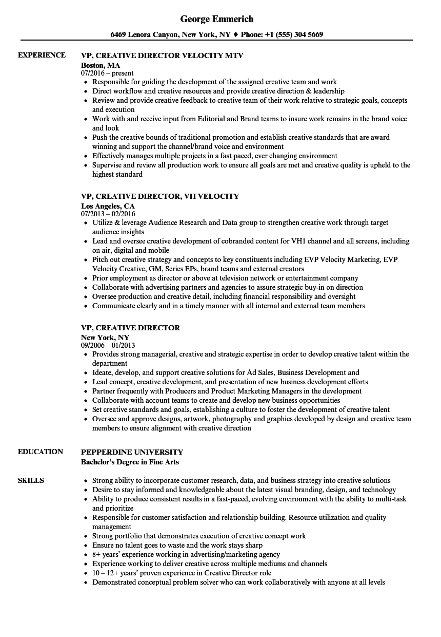 resume examples for creative director