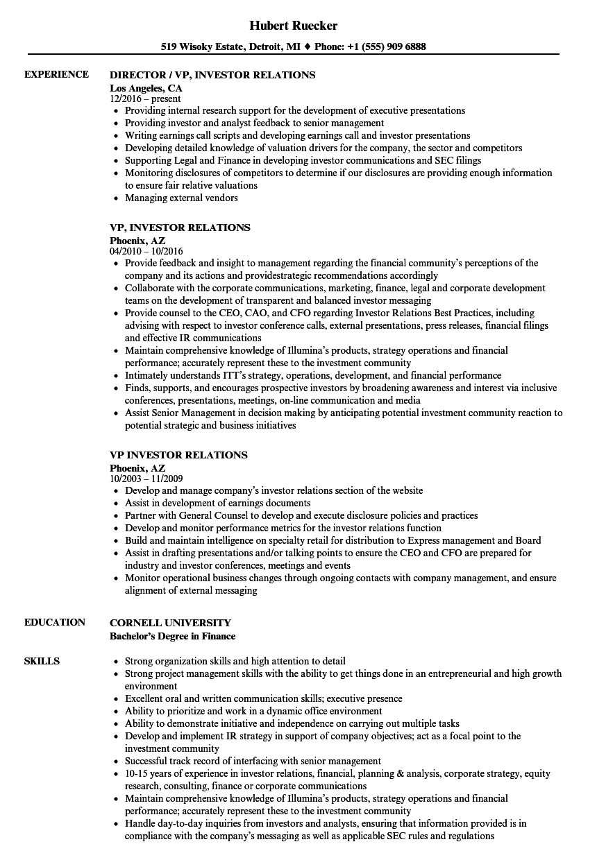 resume sample for government