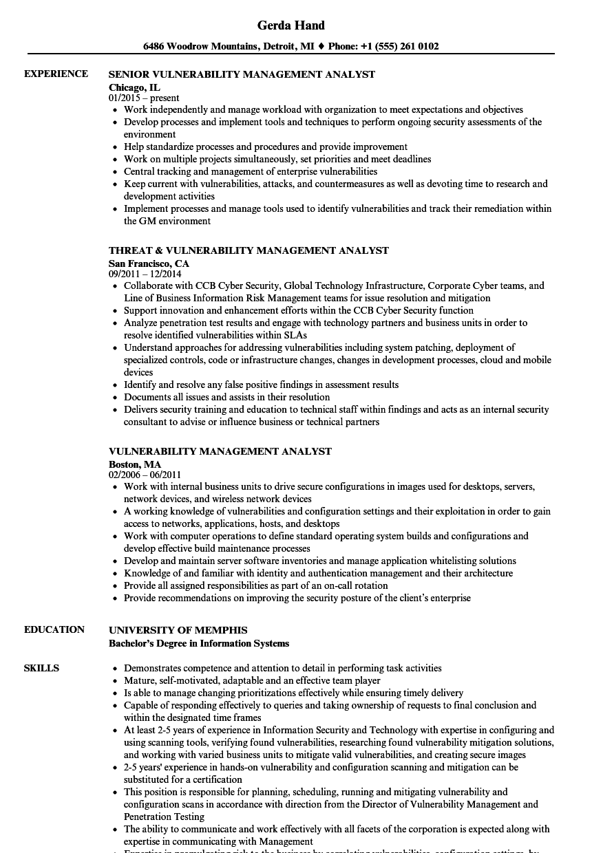 vulnerability management resume sample