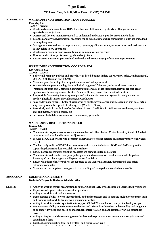 warehouse distribution resume