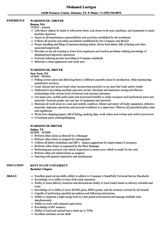 driver resume sample download