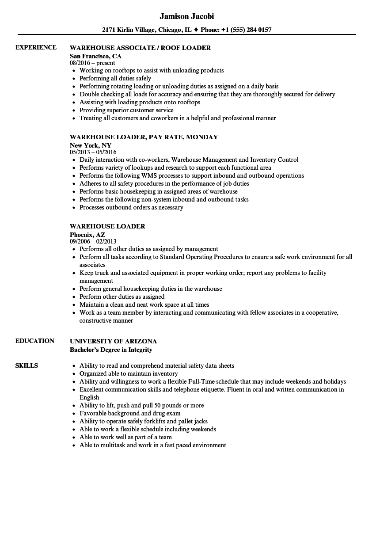 loader unloader resume sample