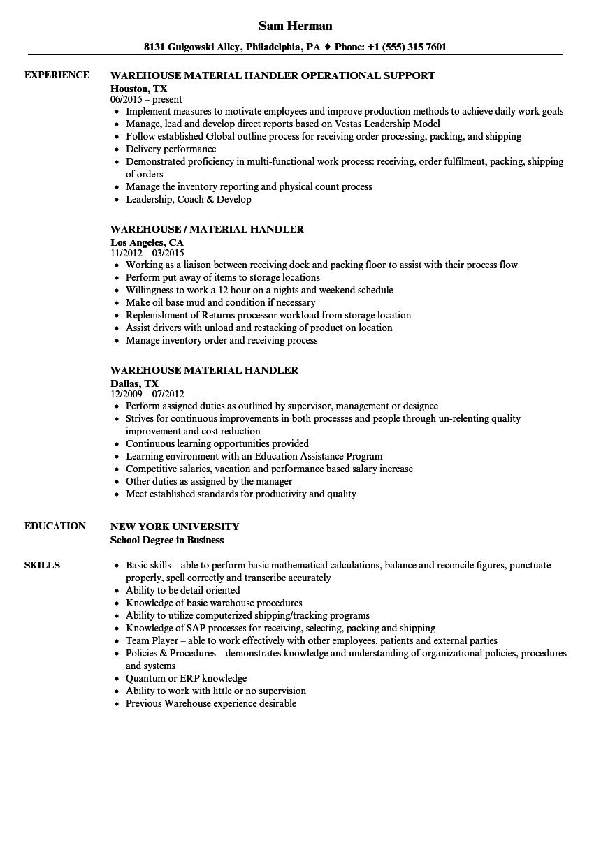 smaterial handler resume samples