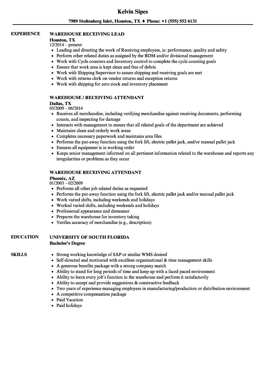 recieving resume examples