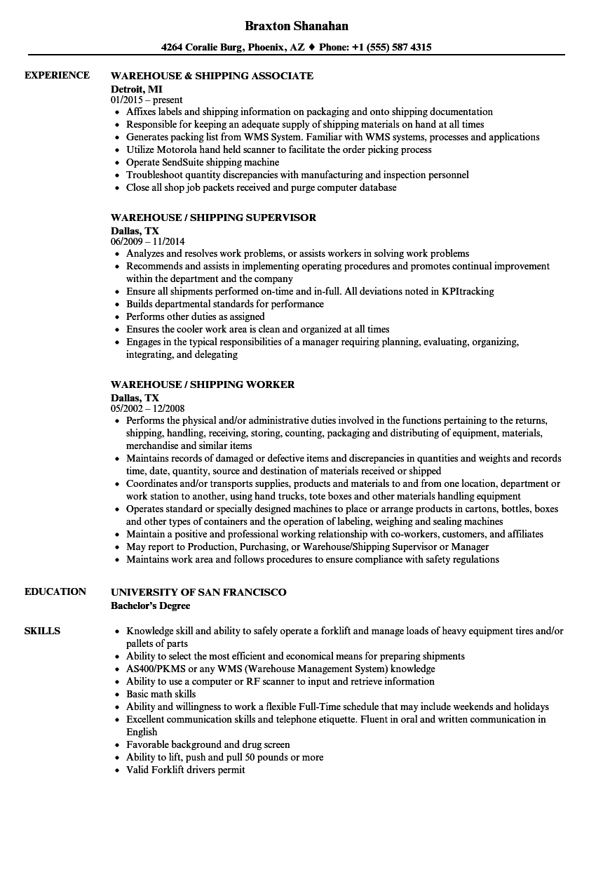 shipping and receiving manager resume sample
