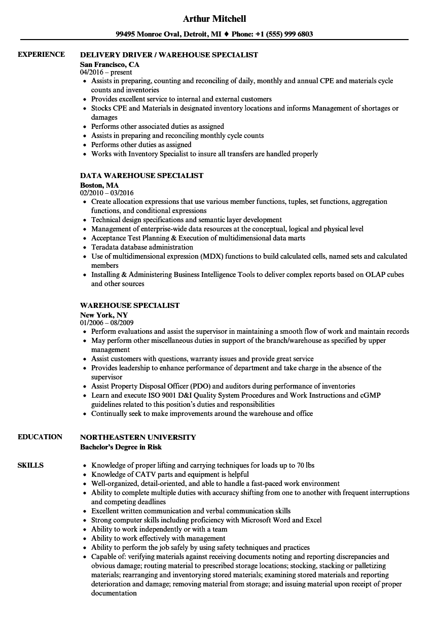 warehouse receiver resume samples