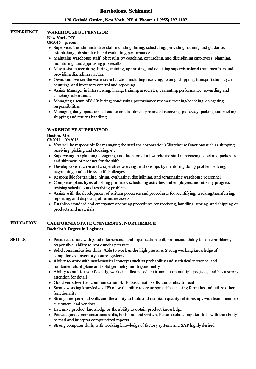 resume examples warehouse supervisor