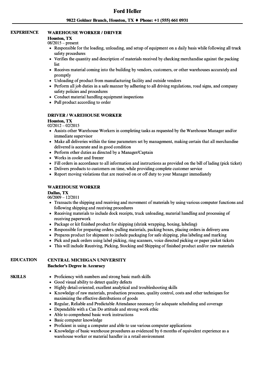 example day warehouse resume