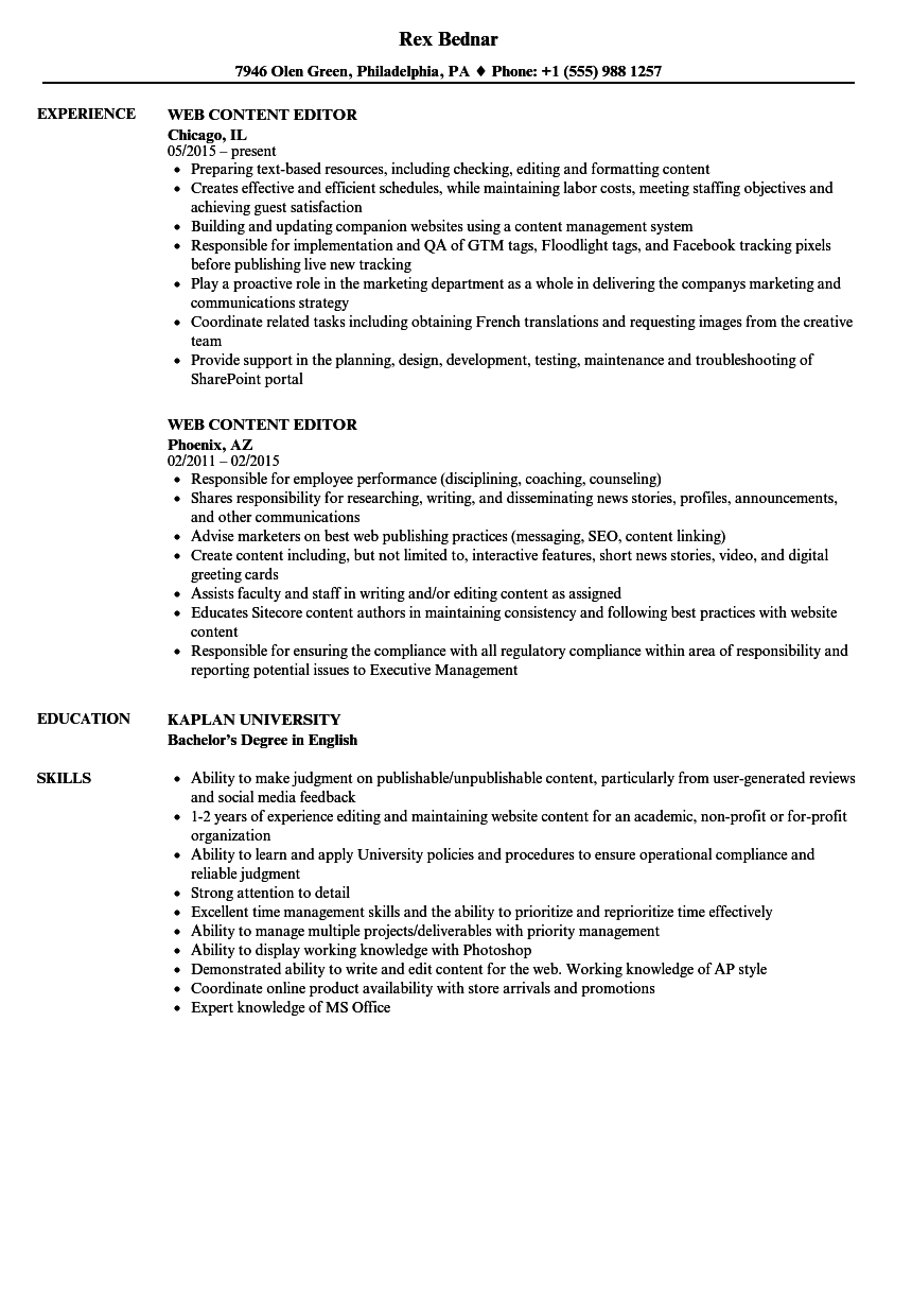 content editor resume sample