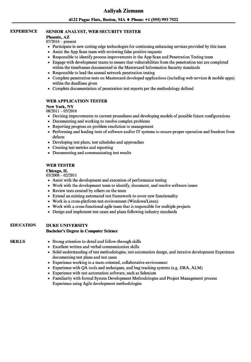 web testing sample resume