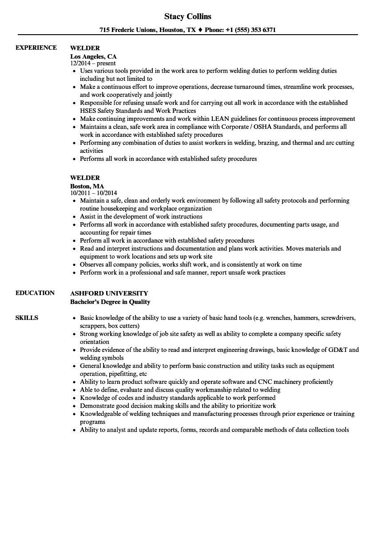 resume for welding job