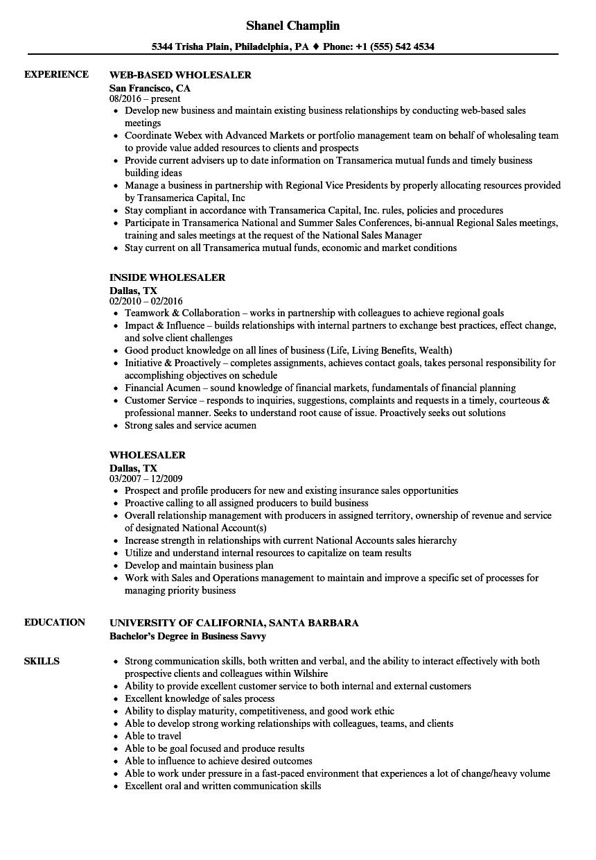 sample external wholesaler resume
