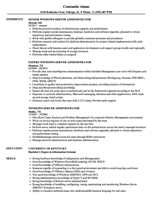 resume headline for windows system administrator
