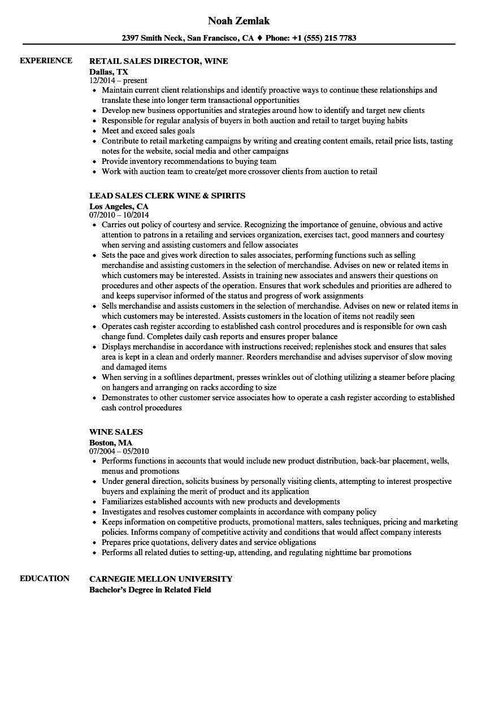 sample resume wine retail experience