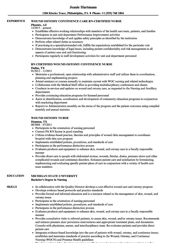 wound care nurse resume example