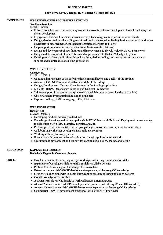 sample resume for wpf developer