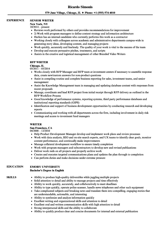 copy writer resume samples