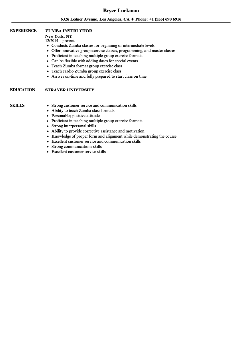 sample resume for clinical instructor