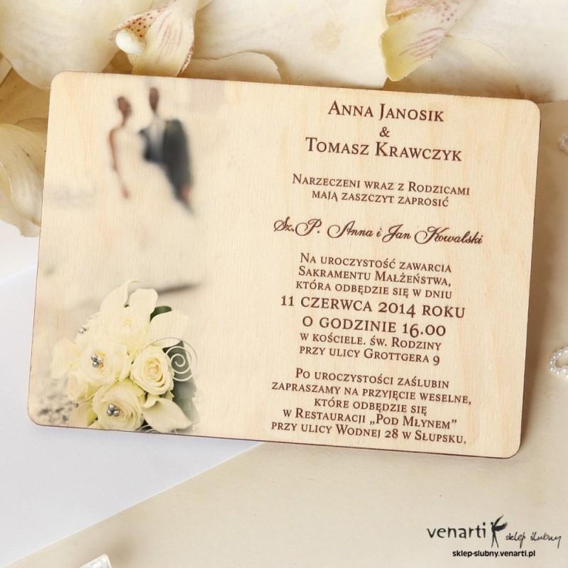 Drewniane zaproszenia ślubne z Parą w tle Venarti - Sklep ślubny