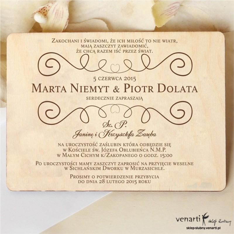 Drewniane zaproszenia ślubne wzorek rustykany (860) - Sklep ślubny