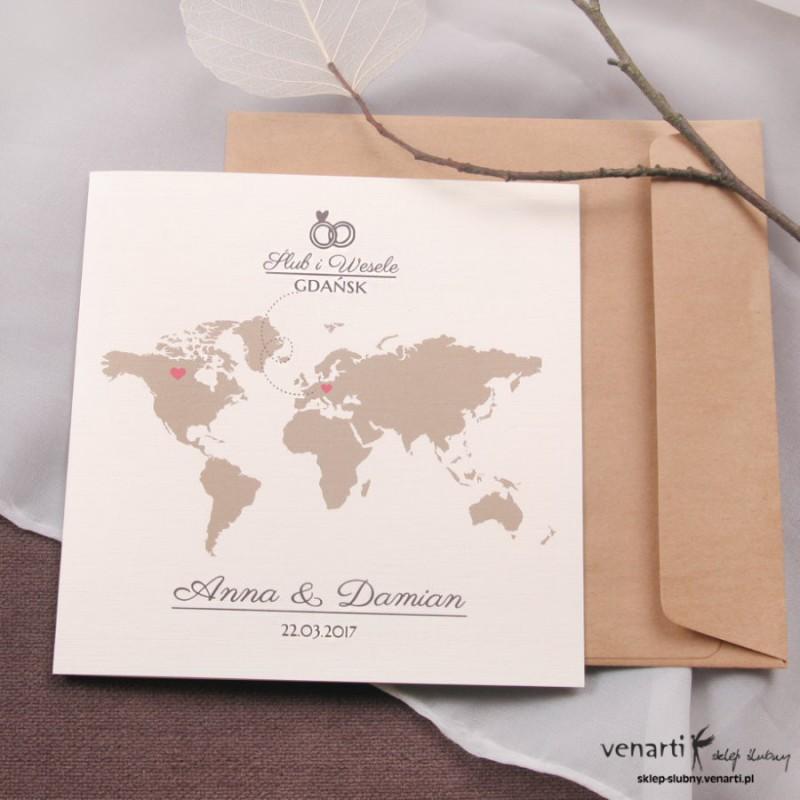Zaproszenia ślubne mapa świata (1788) - Sklep ślubny Venarti