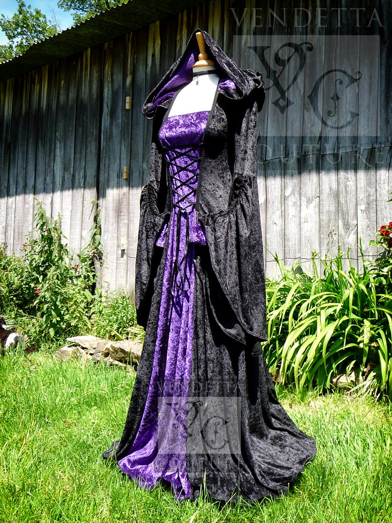 vendettacouture medieval wedding dress Violet hooded gown