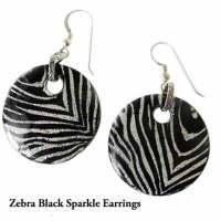 Zebra Black Sparkle Earrings (DI5)