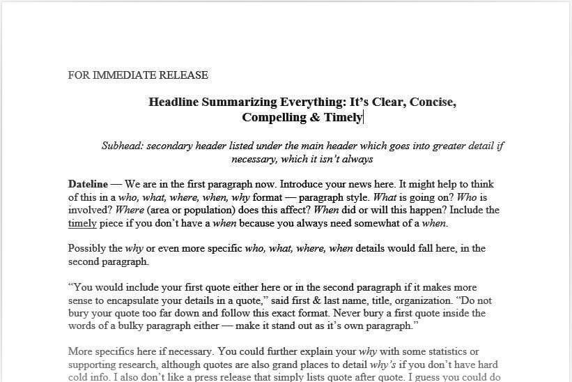 The Press Release Template from Veracity, a Portland PR Firm - press release template