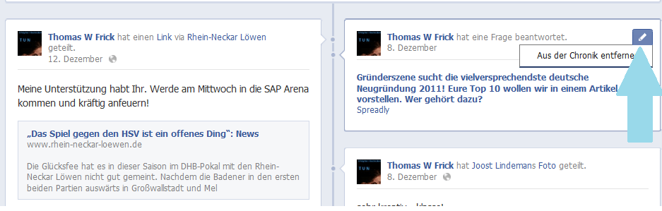 Facebook Chronik bereinigen