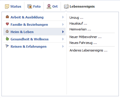 facebook Lebensereignis