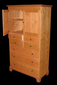 7 Drawer Cherry Dresser with Cabinet & Ebony Knobs ...