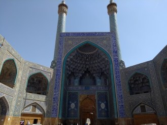 The entrance of the impressive Shah Mosque in Isfahan.