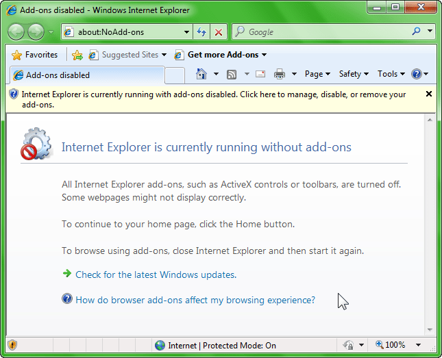 Open Internet Explorer without Any Add-on