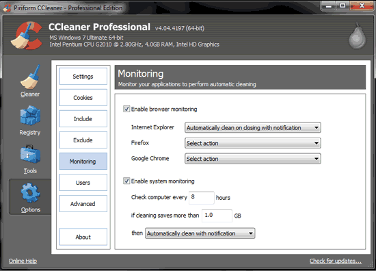 automate disk cleanup with ccleaner