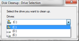 disk cleanup drive selection