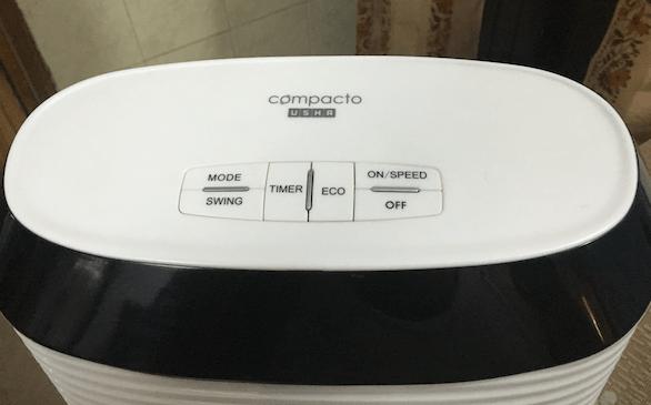 USHA Cerebro Compacto Tower Fan Buttons