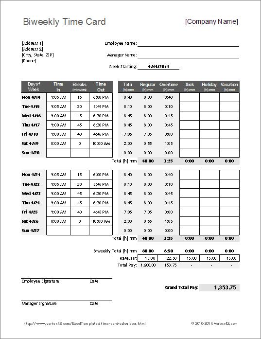 Free Time Card Calculator