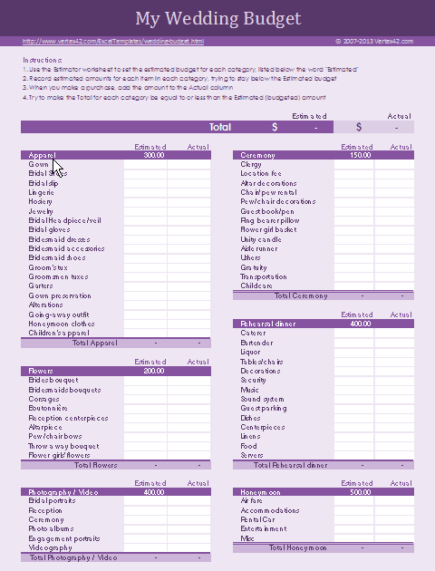 all in one wedding planner spreadsheet