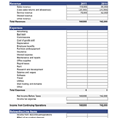 INCOME STATEMENT TEMPLATE – Free Business Financial Statement Template