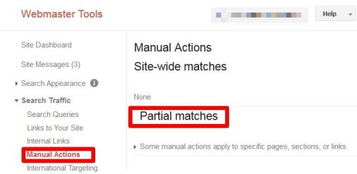 Webmaster Tools Manual Penalty