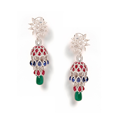 Entice earrings with diamonds, rubies, sapphires and emeralds